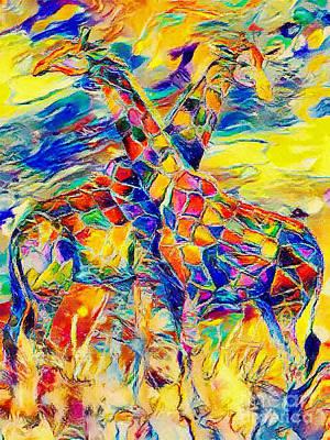 Mixed Media - Giraffes Abstract by Olga Hamilton