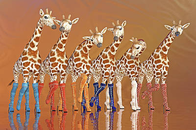 Comics Royalty-Free and Rights-Managed Images - Giraffes Giving It the Boot by Betsy Knapp