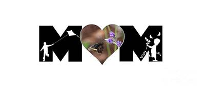 Photograph - Girl And Boy Silhouette With Butterfly On Lavender In Heart Mom Big Letter by Colleen Cornelius