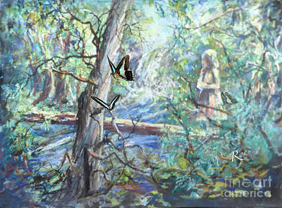 Painting - Girl And Butterflies Far North Queensland Rainforest by Ryn Shell