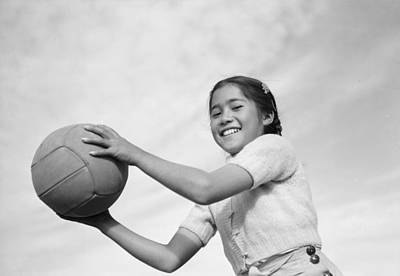 Painting - Girl And Volley Ball  Manzanar Relocation Center  California By  Photograph By Ansel Adams by Celestial Images