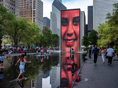 Photograph - Girl At Crown Fountain by David Oakill