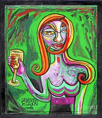 Girl In Green With Glass Of Chardonnay Original