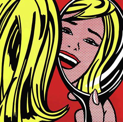 Photograph - Girl In Mirror by Doc Braham - In Tribute to Roy Lichtenstein