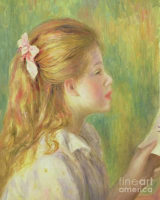 Painting - Girl In Profile Reading  by Pierre Auguste Renoir