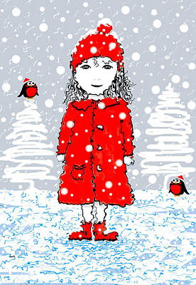 Mixed Media - Girl In Red In Winter Snow by Steven Clarke
