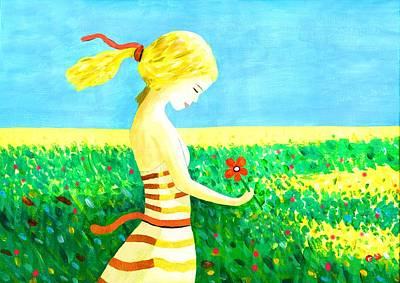 Mixed Media - Girl In Wild Flowers by Steven Clarke