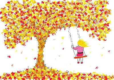 Mixed Media - Girl On Tree Swing In Autumn by Steven Clarke