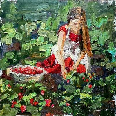 Painting - Girl picks strawberries by Valerie Lazareva