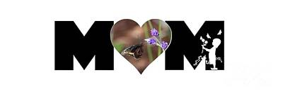 Photograph - Girl Silhouette And Butterfly On Lavender In Heart Mom Big Letter by Colleen Cornelius