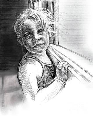 Girl With A Beaded Bracelet Art Print