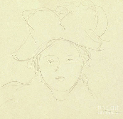 Drawing - Girl With A Hat, 1889 by Berthe Morisot