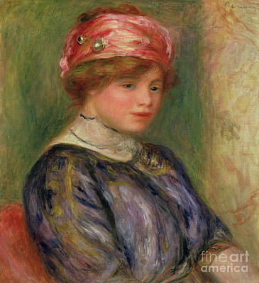 Painting - Girl With A Pink Hat, 1911 by Pierre Auguste Renoir