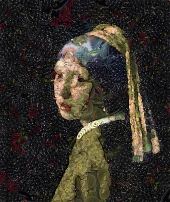 Painting - Girl With A Strawberry Earring Vegetable Decoupage by Taiche Acrylic Art