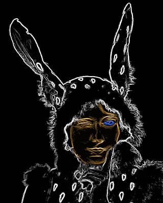 Katharine Hepburn - Girl With Bunny Ears Man Ray Homage by Vikki King