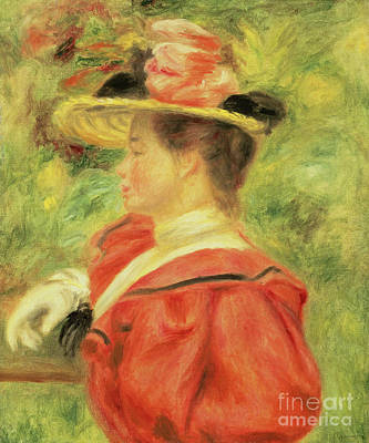 Painting - Girl With Glove by Pierre Auguste Renoir