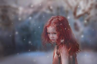 Photograph - Girl with red hair and freckles by Fine Art Gallery