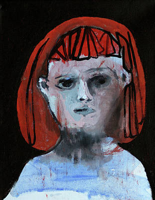Painting - Girl With Red Hair by Artist Dot