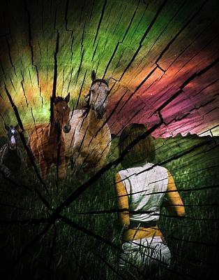 Digital Art - Girl With Running Horses by Galatia420