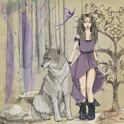 Photograph - Girl with wolf by Fine Art Gallery