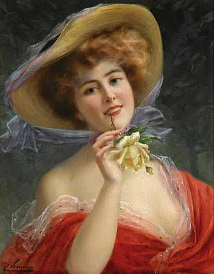 Painting - Girl With Yellow Rose by Emile Vernon