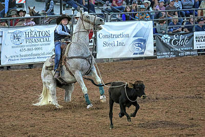 Photograph - Girls Breakaway Calf Roping by Donna Kennedy