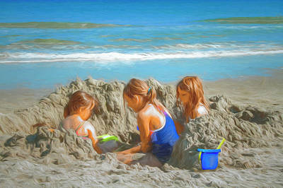 Photograph - Girls Will Be Girls Watercolors by Debra and Dave Vanderlaan
