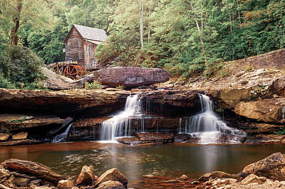 Photograph - Glade Creek Grist Mill Above Twin Waterfalls by Gregory Ballos