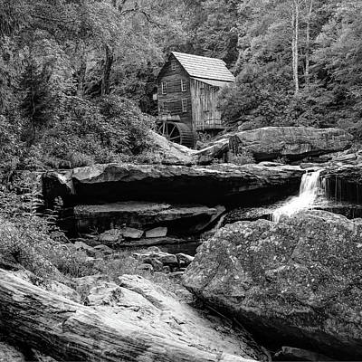 Photograph - Glade Creek Mill In Monochrome - Square Format by Gregory Ballos