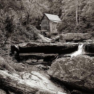 Photograph - Glade Creek Mill In Sepia - Square Format by Gregory Ballos
