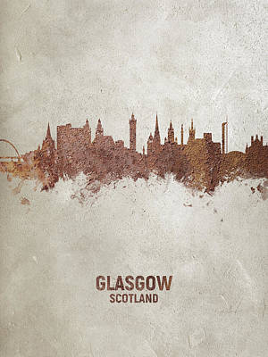 Digital Art - Glasgow Scotland Rust Skyline by Michael Tompsett