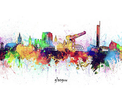 Abstract Skyline Royalty-Free and Rights-Managed Images - Glasgow Skyline Artistic by Bekim M