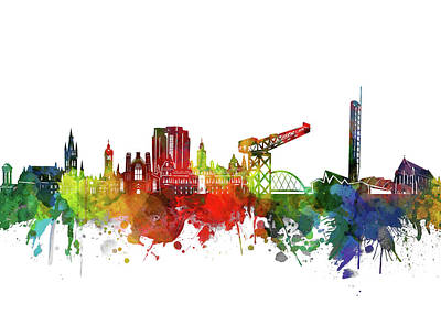Abstract Skyline Royalty-Free and Rights-Managed Images - Glasgow Skyline Watercolor 2 by Bekim M