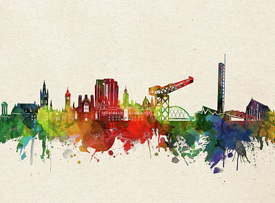 Abstract Skyline Royalty-Free and Rights-Managed Images - Glasgow Skyline Watercolor by Bekim M