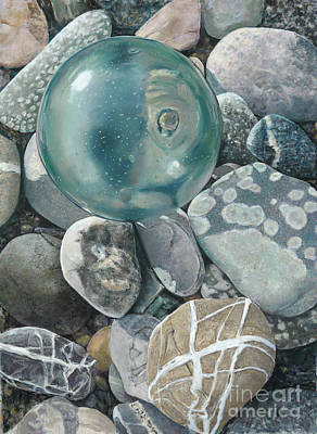 Painting - Glass Float And Beach Rocks by Nick Payne