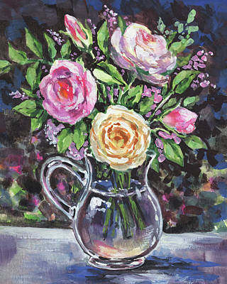 Painting - Glass Pitcher With Pink And Yellow Roses Impressionism  by Irina Sztukowski