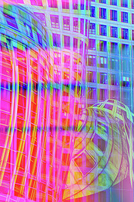 Royalty-Free and Rights-Managed Images - Glitch Art Modern Architecture trippy colors by Matthias Hauser