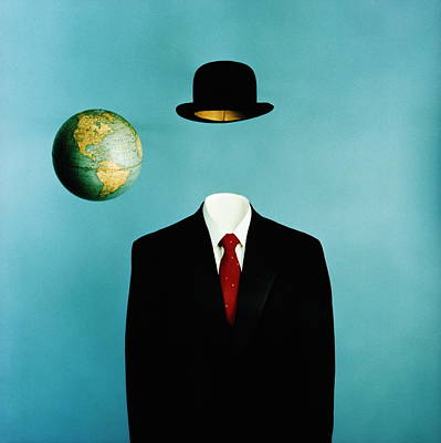 Blue Background Photograph - Globe, Top Hat And Mans Business Suit by Ken Whitmore