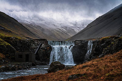 Photograph - Gloomy Waterfall by Framing Places