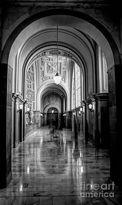 Photograph - Glossy Black White Interior Architecture City Hall Sf  by Chuck Kuhn