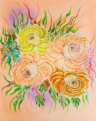 Abstract Shapes Janice Austin - Glowing floral pretty orange roses  by Angela Whitehouse