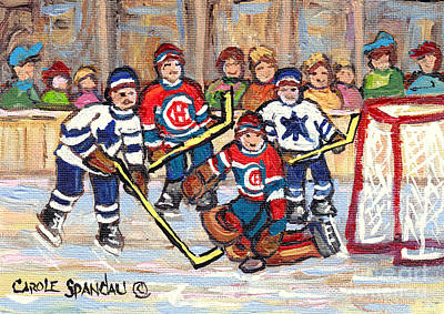 Painting - Goalie Stops The Puck Montreal Forum And Bell Center Hockey Night In Canada C Spandau Hockey Artist by Carole Spandau