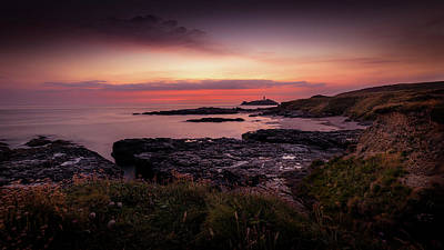 Photograph - Godrevy Sunset - Cornwall by Eddy Kinol