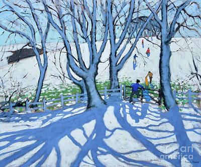 Painting - Going Sledging, Dam Lane, Ashbourne, Derbyshire, by Andrew Macara