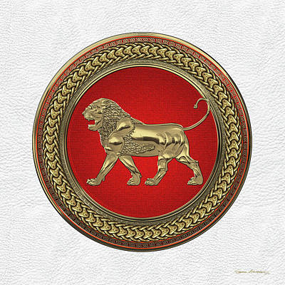Digital Art - Gold Assyrian Lion On Red And Gold Medallion Over White Leather by Serge Averbukh