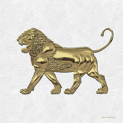 Digital Art - Gold Assyrian Lion Over White Leather by Serge Averbukh