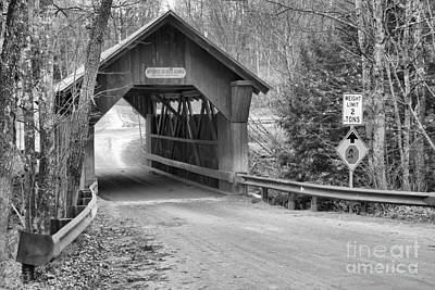 Photograph - Gold Brook Covered Bridge Black And White by Adam Jewell