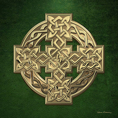 Digital Art - Gold Celtic Knot Cross Over Green Leather by Serge Averbukh