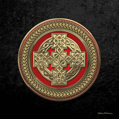 Gold Celtic Knot Cross Over Red With Gold Medallion Over Black Velvet Original