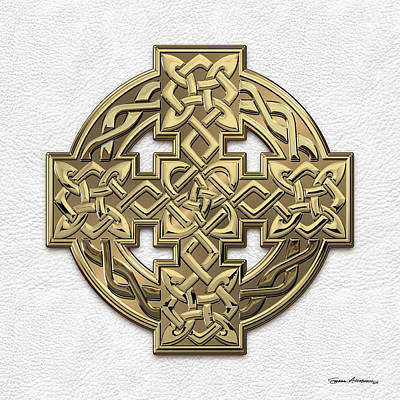 Digital Art - Gold Celtic Knot Cross Over White Leather by Serge Averbukh